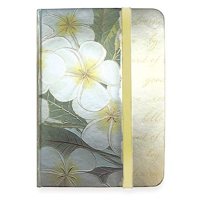 Foil Notebook w/ Elastic Band SM, Plumeria Notes