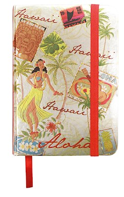 Foil Notebook w/ Elastic Band LG, Stamped w/ Aloha