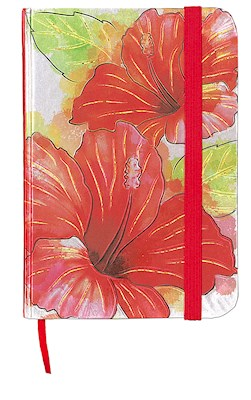 Foil Notebook w/ Elastic Band SM, Hibiscus Watercolor
