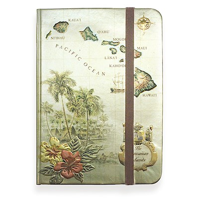 Foil Notebook w/ Elastic Band LG, Isl. of HI Tan
