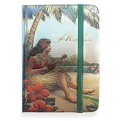 Large Foil Notebook with Elastic Band Vintage Hawaii