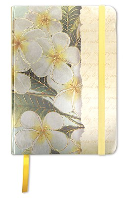 Foil Notebook w/ Elastic Band LG, Plumeria Notes