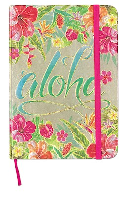 Large Foil Notebook with Elastic Band Aloha Floral