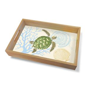 Coastal Wood Tray Large, Honu Voyage