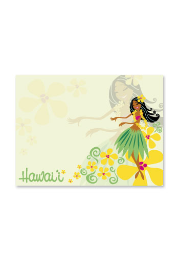 Rect. Aloha Stick'n Notes 50-sht, Lovely Hula Hands