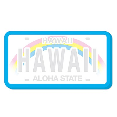Shaped Aloha Stick'n Notes 50-sht, Hawaii License Plate