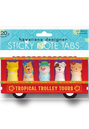 Sticky Memo Tabs 5-pk 20-sht, Tropical Trolley Tours