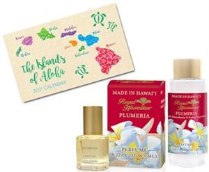 Plumeria Royal Hawaiian Perfume, Lotion & Pocket Calendar Set