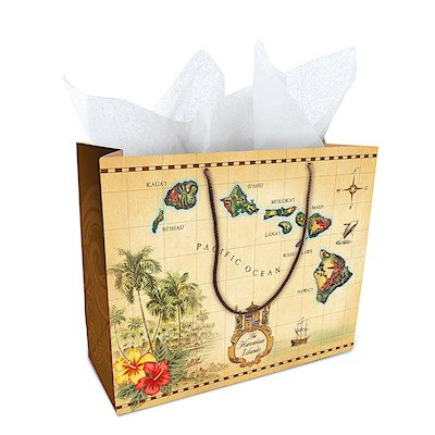 "Large Gift Bag, Islands of HI Tan (10.5"" H x 13"" W x 5.5"" D) *"