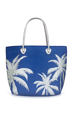 Silver Tote, Palms (Blue)