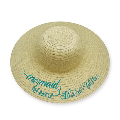 Embroidered Sun Hat, Mermaid Wishes - Blue