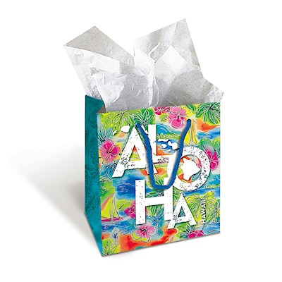 Medium Gift Bag,- Tropical Aloha -