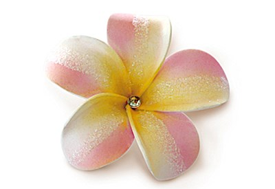 Foam Plumeria Bling Clip - Pink/Yellow