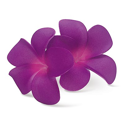 Foam Double Plumeria Clip - Purple/Pink
