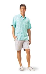 Ocean Waves Aqua/Mint Kai Mens Classic Shirt (2X-Large)