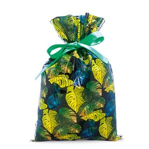Foil Drawstring Gift Bags SM 3-pk, Monstera Black