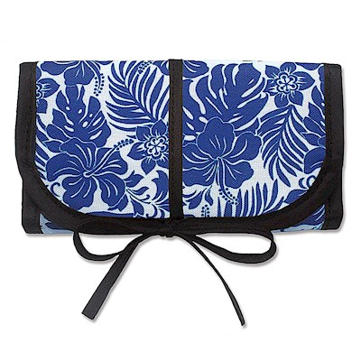 Jewelry Organizer in Blue Hibiscus Floral