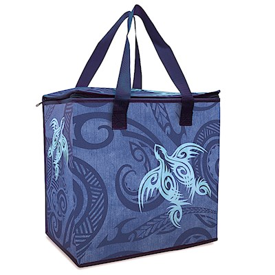 Insulated Shopping Tote, Tribal Honu - Blue