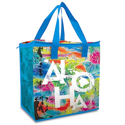 Insulated Shopping Tote, Tropical Aloha