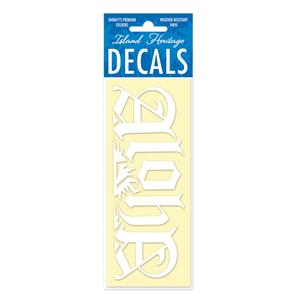 Decal Small Banner, Royal Aloha White