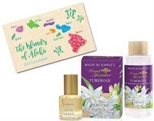 Tuberose Royal Hawaiian Perfume, Lotion & Pocket Calendar Set