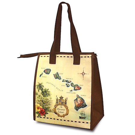 Small Insulated Tote, Islands of Hawaii - Tan