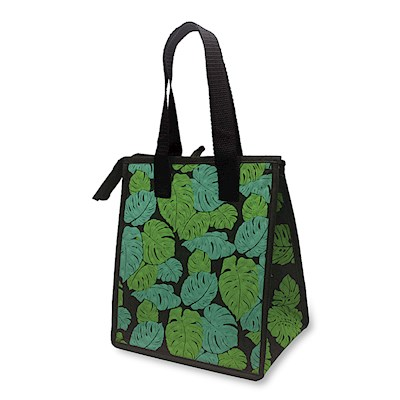 INSULATED LUNCH BAG, MONSTERA BLACK