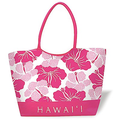 Large Beach Tote, Modern Hibiscus - Pink Hawaii *