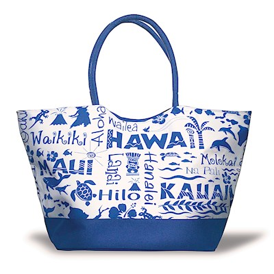 Large Beach Tote, Hawaiian Adventure Navy