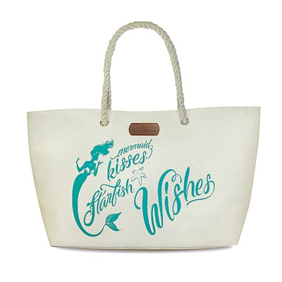 Rope Handle Beach Tote, Mermaid Wishes - Blue