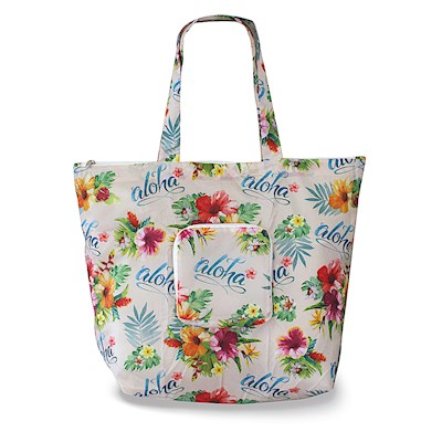 Deluxe Foldable Tote Aloha Floral