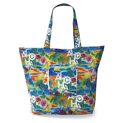 Deluxe Foldable Tote Tropical Aloha