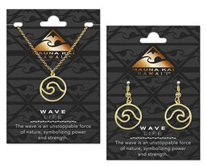Wave Gold Charm Earring & Necklace Set