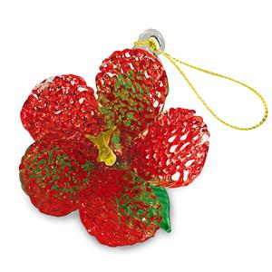 Glass Lace Ornament, Hibiscus - Red