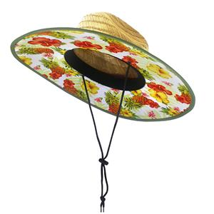 Fabric-Lined Straw Hat, Tropical Pineapple