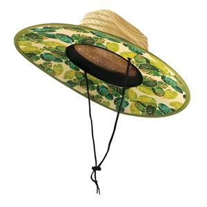 Fabric-Lined Straw Hat, Monstera Yellow