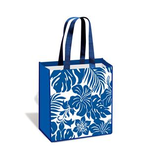 Island Tote, Hibiscus Floral - Blue