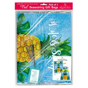 Large Life is Sweet Foil Everyday Drawstring Gift Bag
