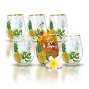 Life is Sweet Coastal Glassware Set (Set of 6)