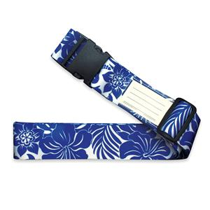 Luggage Strap, Hibiscus Floral - Blue