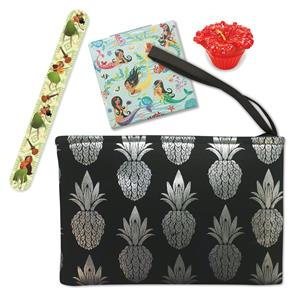 Metallic Pineapple Clutch - Black