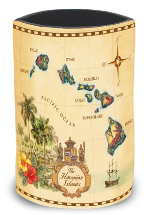 Island Can Cooler, Islands of Hawaii - Tan