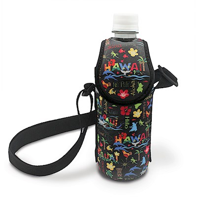 Island Bottle Cooler with Strap, HI Adv - Black