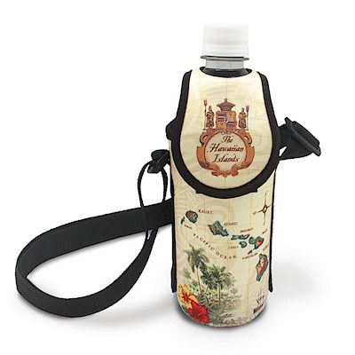 Island Bottle Cooler with Strap, Isl. of HI Tan