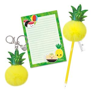 Pineapple - Aloha Island Pom-Pom Keychain & Stationery Set
