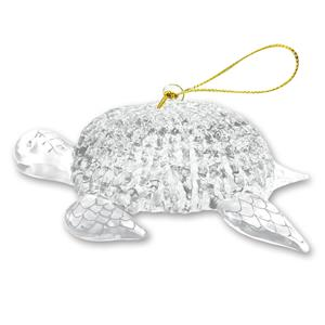 Glass Lace Ornament, Honu - Clear