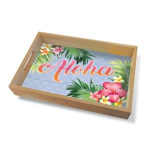 Coastal Wood Tray Large, Aloha Palm