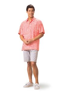 Ocean Waves Coral/Pink Kai Mens Classic Shirt (Large)