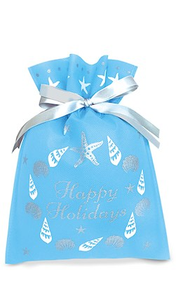 Drawstring Gift Bags 3-pk SM, Seashell Wreath
