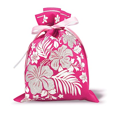 DRAWSTRING GIFT BAG: Hibiscus Floral – Small
